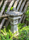 Japanese stone lantern closeup traditional in garden Stock Photos
