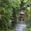 Japanese stone lantern surrounden by young bamboo tress Stock Photos