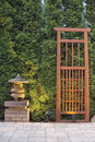 Japanese Stone Pagoda Lantern and Trellis Stock Photos