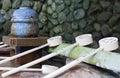 Japanese stone water basin Royalty Free Stock Photo