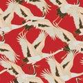Japanese japanese stork or pattern. Oriental - japanese - seamless pattern. Crane, stork, heron. Flying heron bird. Red Royalty Free Stock Photo