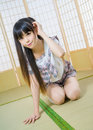 Japanese student girl lady in tatami room asian anime is Royalty Free Stock Images