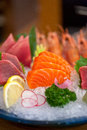 Japanese style assorted sashimi dish laid over crushed ice Royalty Free Stock Images