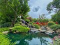Japanese style garden. Waterfall, red bridge and Koi fish pond in the tropical garden. Royalty Free Stock Photo