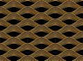Japanese style golden seamless pattern background image curve wave frame line