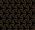 Japanese style golden seamless pattern background image round curve cross dot line frame