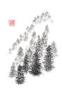 Japanese style sumi-e pine hill ink painting. Royalty Free Stock Photo