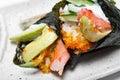 Japanese surimi crab stick and avocado Royalty Free Stock Photo