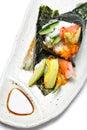 Japanese surimi crab stick and avocado temaki Royalty Free Stock Photo