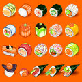 Japanese sushi collection set an illustration of sashimi useful as icon illustration and background for food Stock Photography