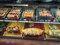 Japanese sushi display Royalty Free Stock Photo