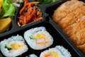 Japanese sushi with fly pork traditional food Royalty Free Stock Images