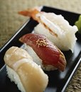 Japanese sushi front view,shrimp tuna scallop Royalty Free Stock Photo
