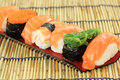 Japanese sushi on the plate deliciuos Royalty Free Stock Photos