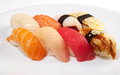 Japanese sushi with rice and fish mix Royalty Free Stock Images