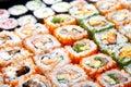 Japanese sushi rolls. Royalty Free Stock Photo
