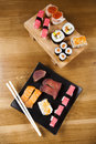 Japanese sushi seafood rolls with rice Royalty Free Stock Photo