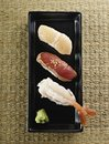 Japanese sushi top view view,shrimp tuna scallop Royalty Free Stock Photos
