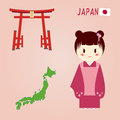 Japanese symbols traditional symbol and map Royalty Free Stock Photos