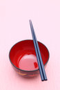 Japanese tableware traditional on pink background Stock Photos