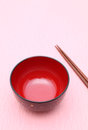 Japanese tableware traditional on pink background Royalty Free Stock Image