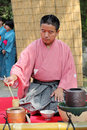 Japanese tea ceremony kagawa japan september man preparing at the garden of the hagiwara temple on september in kagawa japan green Stock Photo
