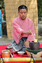 Japanese tea ceremony kagawa japan september man preparing at the garden of the hagiwara temple on september in kagawa japan green Stock Photos