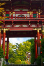 Japanese tea garden style gate in san francisco california usa Royalty Free Stock Photos