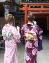 Japanese Teens at Fushimi Inari Royalty Free Stock Photo
