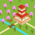Japanese Temple Isometric View. Vector Royalty Free Stock Photo