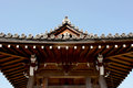 Japanese temple roof traditional against a blue sky Royalty Free Stock Photos