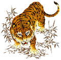 Japanese tiger i painted a in a freehand drawing i drew it with a writing brush and paint Stock Photos