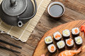 Japanese traditional cuisine, shrimp sushi and assorted rolls Royalty Free Stock Photo