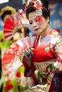 Japanese traditional dance performa performances japan gorgeous clothes and the power and beauty of the action is the most Stock Photos