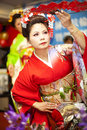 Japanese traditional dance performa performances japan gorgeous clothes and the power and beauty of the action is the most Stock Images