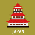 Japanese traditional pagoda flat icon national with red roof and ornamental spire or hit for travel or history design style Stock Images
