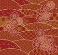 Japanese traditional patterns and chrysanthemum