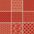 Japanese Traditional Red Pattern Set Royalty Free Stock Photography