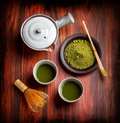 Japanese traditional tea set with powdered green Stock Photos