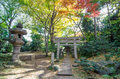 Japanese traditional temple in garden autumn Royalty Free Stock Photo
