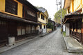 Japanese traditional urban space street scape and historical buildings in the town of uchiko shikoku island japan Stock Photography