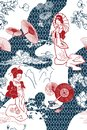 stock image of  Japanese traditional vector illustration oruental backdrop pattern
