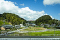 Japanese traditional village among hills Royalty Free Stock Photo