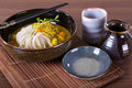 Japanese udon noodles cuisine thick wheat Stock Photos