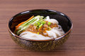Japanese udon noodles cuisine thick wheat Royalty Free Stock Images