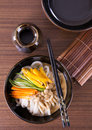 Japanese udon noodles cuisine thick wheat Royalty Free Stock Photos