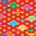 Japanese umbrella half circle seamless pattern Royalty Free Stock Photo