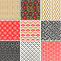 Japanese vector seamless patterns set Royalty Free Stock Photo