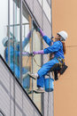 Japanese  Window Cleaner in Tokyo Royalty Free Stock Photo