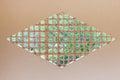 Japanese window wooden grate diamond-shaped quadrangle. Royalty Free Stock Photo